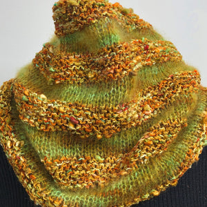 Hand Knit Textured Cowl, Fall Colors Cowl