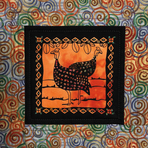 Sold - Quilted Batik Guinea Hens Wall Art