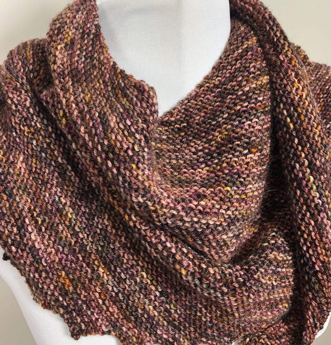 Asymmetrical Hand Knit Scarf, Shades of Brown Shawl