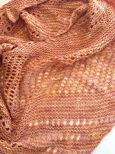 Asymmetrical Boomerang Silky Merino Scarf in Shades of Peach