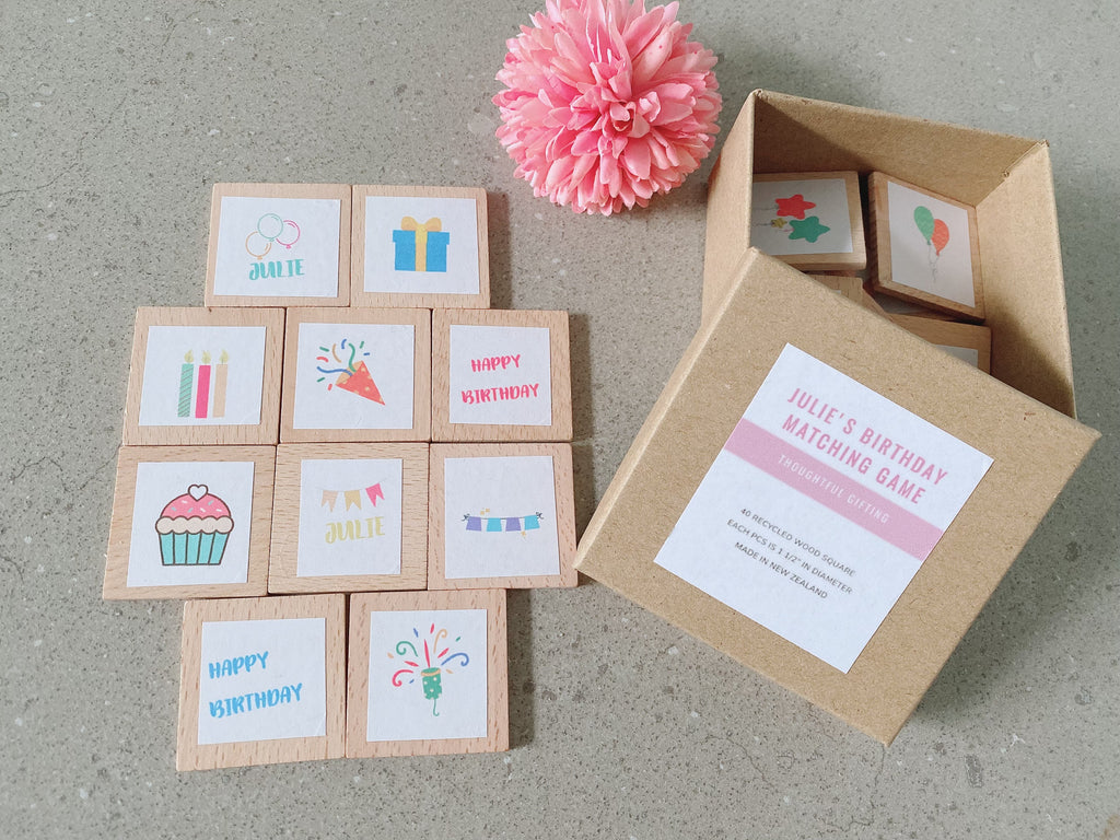 This personalised birthday theme matching game is simple to set up and learn, helps children develop concentration, memory and matching skills.
