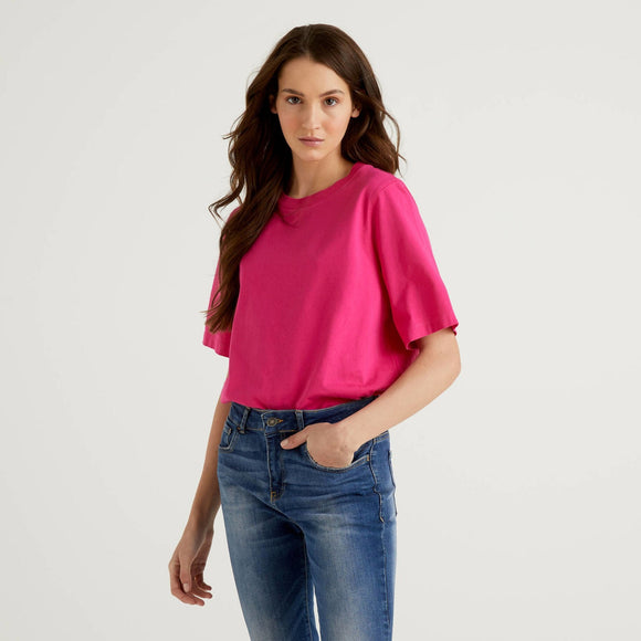 Fuchsia Boxy Fit Crew Neck T-shirt