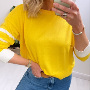 Yellow Sweater with Slit at Back