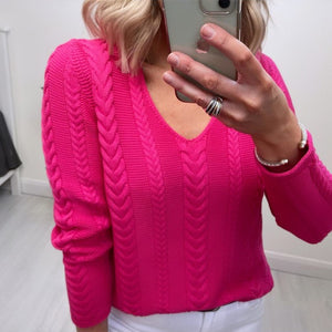 Fuchsia Benetton V neck Sweater with Twists