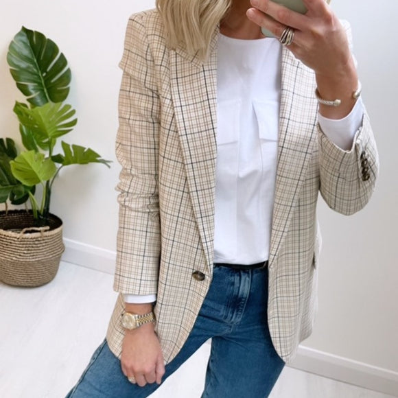 Beige Blazer with Yarn Dyed Check