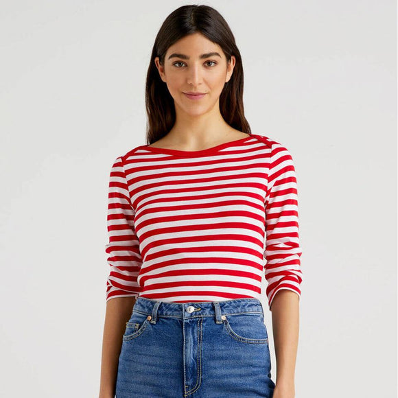 Red Striped 3/4 Sleeve Top