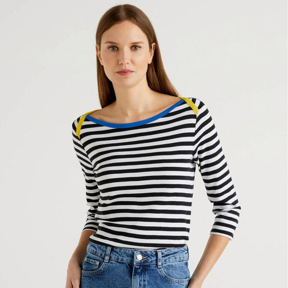 Striped 3/4 Sleeve Top with Yellow & Blue Detail