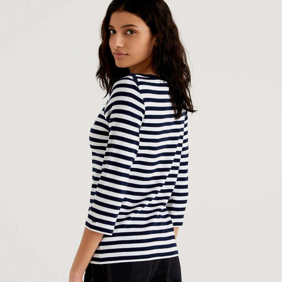Navy Striped 3/4 Sleeve Top