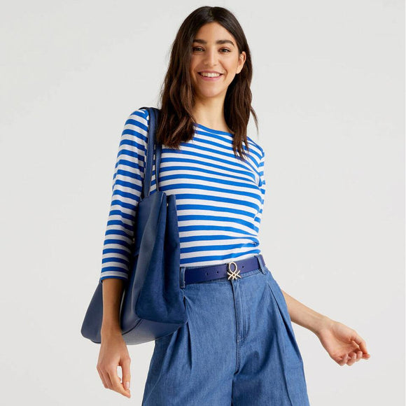 Blue Striped 3/4 Sleeve Top