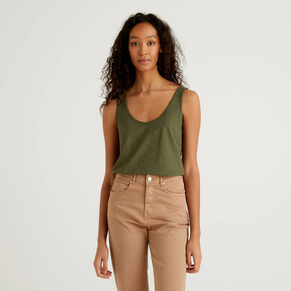 Khaki Benetton Cotton Tank Top