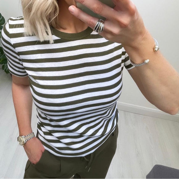 Khaki & White Striped Benetton T-shirt