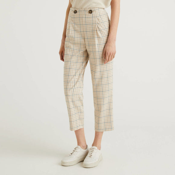 Beige Yarn Dyed Check Trousers Benetton Ladies Fashion
