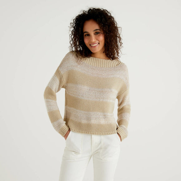 Beige Striped Sweater with Sequins Benetton Ladies Fashion
