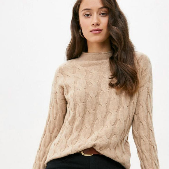 Beige Cable Knit Cashmere Mix Crew Neck Sweater