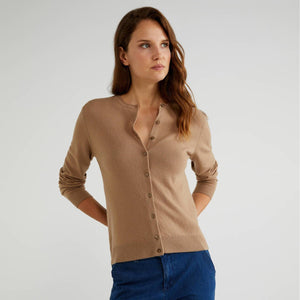 Camel 100% Virgin Wool Cardigan