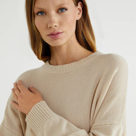 Beige Loose Sweater with Slits