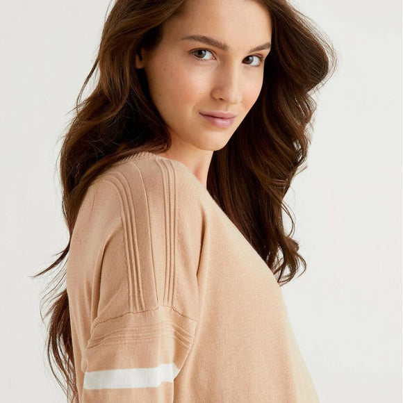 Camel Sweater with Slit at Back