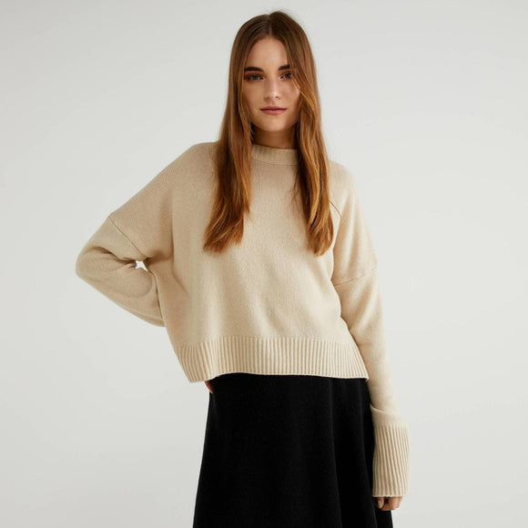 Beige Sweater in Wool Blend