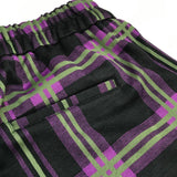 Black & Purple Check Stretch Trousers with Cuffs