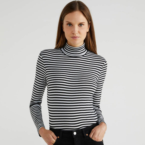 Black Striped Polo Neck Top