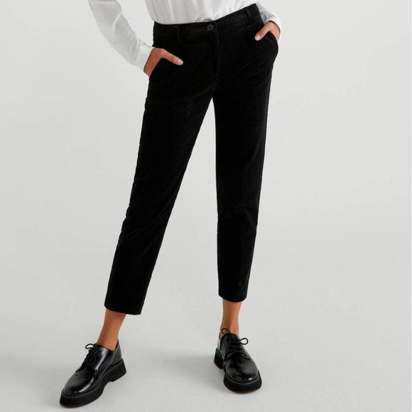 Black Stretch Cord Trousers