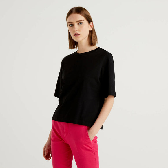 Black Boxy T-shirt Benetton Ladies Fashion