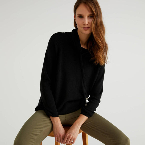 Black High Neck Sweater with Drawstring