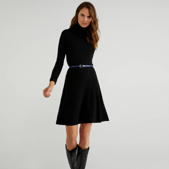 Black High Neck Knit Dress