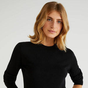 Black 100% Virgin Wool Crew Neck Sweater