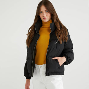 Black Puffer Jacket with High Neck