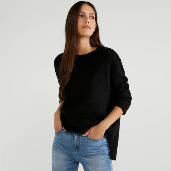 Black Soft Sweater with Slits