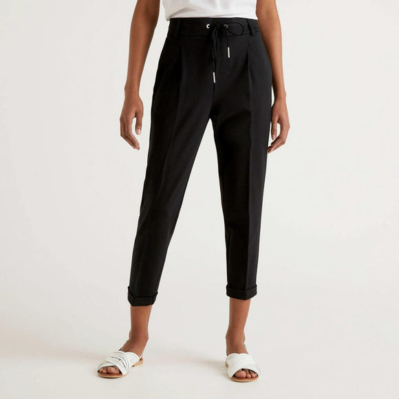 Black Trousers with Drawstring & Cuff