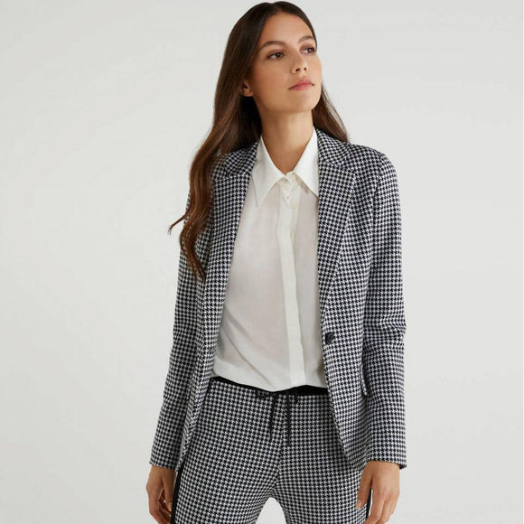 Black & White Hounds-tooth Single-Breasted Blazer