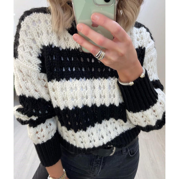 Black & White Open Knit Sweater