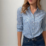 White Printed Shirt with Blue Flowers