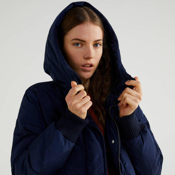 Blue Long Puffer Jacket with Hood