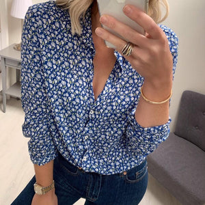 Blue Patterned Shirt with White Flowers