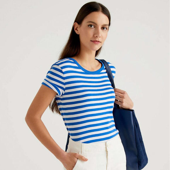 Blue & White Striped Crew Neck T-shirt
