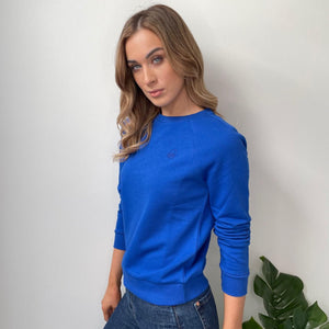 Blue Crew Neck Sweatshirt with Logo