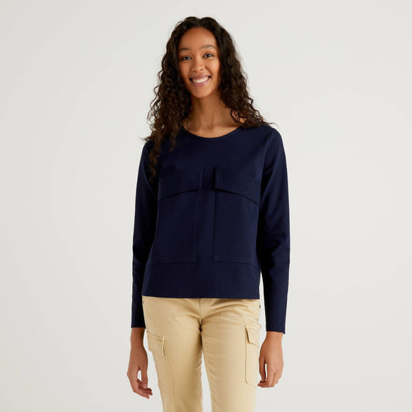 Navy Benetton Boxy Sweatshirt with Pockets