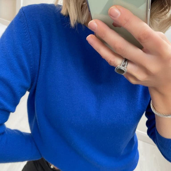 Bright Blue 100% Virgin Wool Crew Neck Sweater