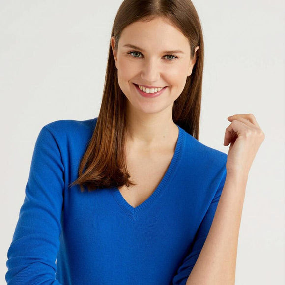 Bright Blue V-neck Sweater in Cotton