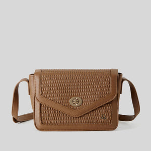 Brown Leather Look Crossbody Bag