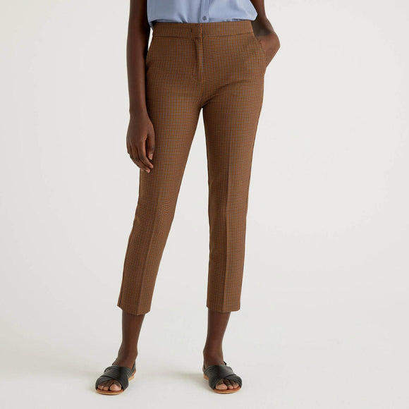 Brown Trousers with Check Pattern