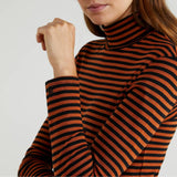 Rust Striped Polo Neck Top
