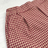 Burgundy & Beige Hounds-tooth Stretch Trousers with Cuffs
