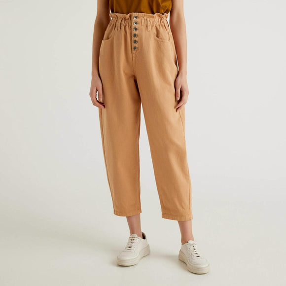 Camel High-Waisted 100% Cotton Trousers