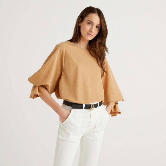 Camel Blouse with Gathered Sleeves