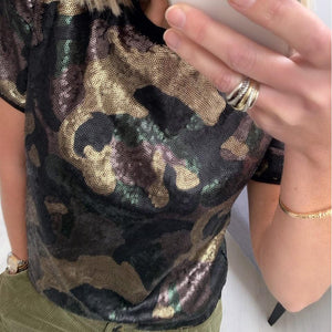 Camouflage T-shirt with Sequins