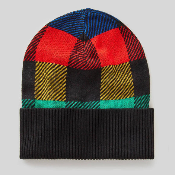 Check Multi-colour Knit Hat